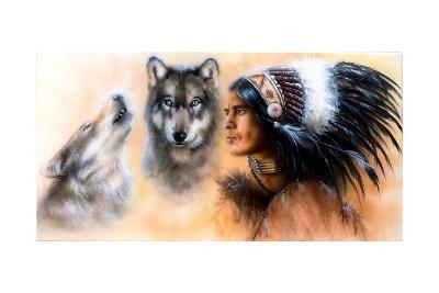 Animals Wolf and Portrait of American Indian in National Dress- JozefArt-Art Print