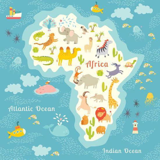 Animals World Map Africa. Beautiful Cheerful Colorful Vector Illustration for Children and Kids.-coffeee_in-Art Print
