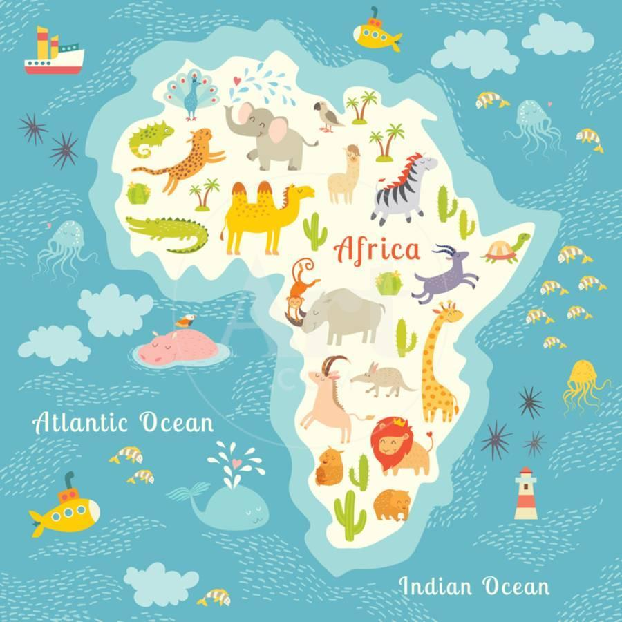 Map Of Africa Map.Animals World Map Africa Beautiful Cheerful Colorful Vector Illustration For Children And Kids Art Print By Coffeee In Art Com