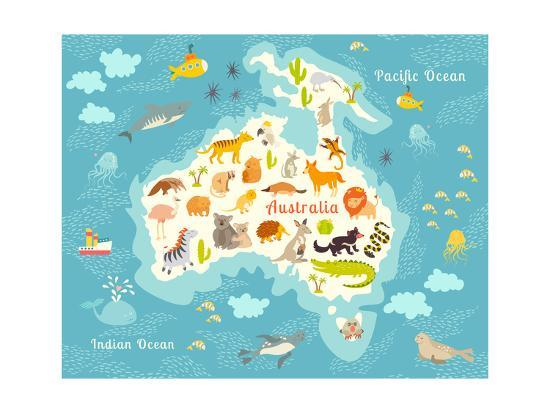 Animals World Map Australia Australian Animals Poster Australia