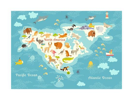 Animals World Map, North America.Colorful Cartoon Vector Illustration on playas n. america, rivers america, map italy, map europe, funny america, ohio state america, states in america, latin america, map mexico, map canada, north america, atlas america, map belize, club america, central america, map georgia, vincennes map america, map australia, physical map america,