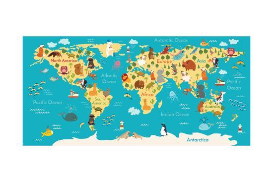 Animals World Map Art Print By Coffeee In Art Com