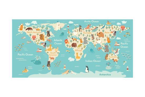 Animals World Map-coffeee_in-Art Print