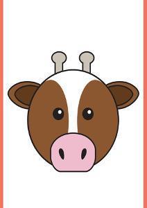 Cow - Animaru Cartoon Animal Print by Animaru