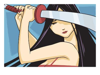Anime Fighter with Sword-Harry Briggs-Giclee Print