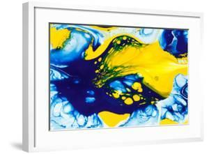 Abstract Background of a Mixing Blue and Yellow Color Paints by Aninna