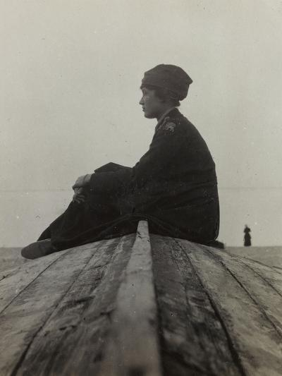 Anita Self with the Uniform of the American Red Cross Photographed on the Beach in Noli--Photographic Print