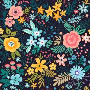 Amazing Floral Pattern with Bright Colorful Flowers, Plants, Branches and Berries on a Black Backgr by Ann and Pen