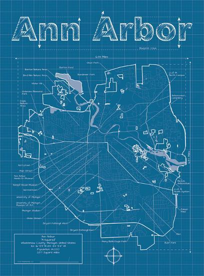 Ann Arbor Artistic Blueprint Map-Christopher Estes-Art Print