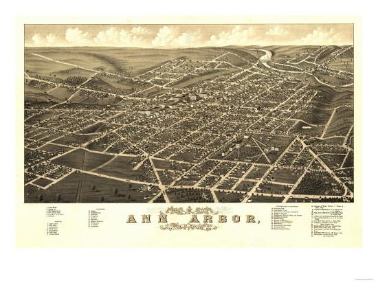 Ann Arbor, Michigan - Panoramic Map-Lantern Press-Art Print