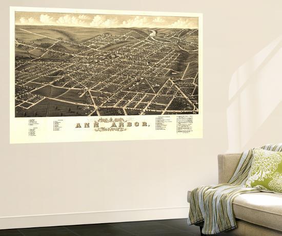 Ann Arbor, Michigan - Panoramic Map-Lantern Press-Wall Mural