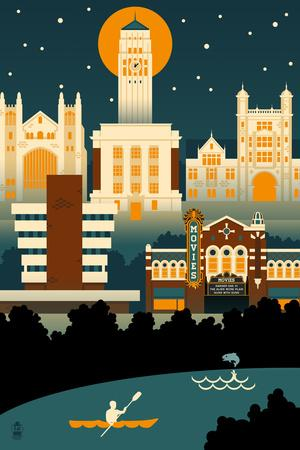 Ann Arbor, Michigan - Retro Skyline (no text)-Lantern Press-Art Print