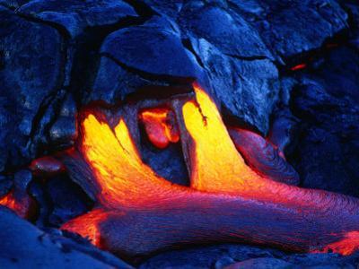 A Glowing New Lava Flow Near Chain of Craters Road, Hawaii (Big Island), Hawaii, USA