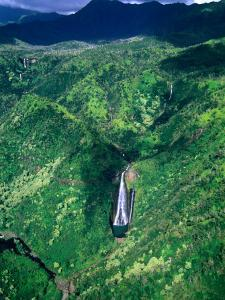 "Aerial View of ""Jurassic Park"" Waterfall Where Scenes from the Movie Were Filmed, Kauai, Hawaii by Ann Cecil"