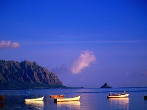 Boats on Kanehoe Bay with Chinaman's Hat in the Distance, Kaneohe, U.S.A. by Ann Cecil
