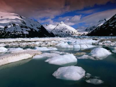 Icebergs and Mountains at Portage Lake, Portage Glacier Recreation Area, Anchorage, U.S.A.