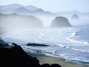 Overhead of Walkers, Cannon Beach, Ecola State Park, U.S.A. by Ann Cecil