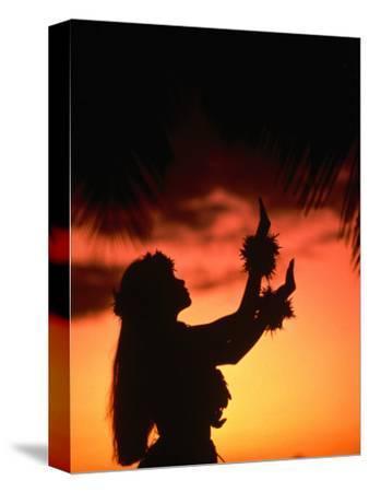 Silhouette of Hula Dancer on Waikiki Beach at Sunset, Waikiki, U.S.A.