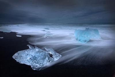 Jökulsárlón Ice on Beach, Iceland