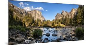 California, Panoramic View of Merced River, El Capitan, and Cathedral Rocks in Yosemite Valley by Ann Collins