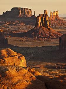 USA, Arizona, Monument Valley. View of Buttes from Hunt's Mesa at Sunrise by Ann Collins