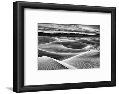 USA, California, Death Valley National Park, Dawn over Mesquite Flat Dunes in Black and White