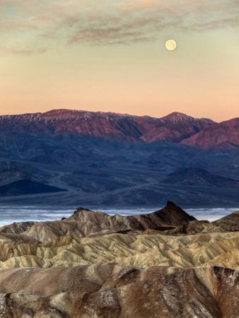 USA, California, Death Valley National Park. Moonset at Sunrise from Zabriskie Point by Ann Collins