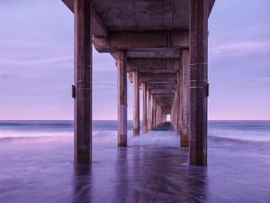 USA, California, La Jolla, Dawn under Scripps Pier at La Jolla Shores by Ann Collins