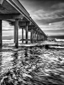 USA, California, La Jolla, Full Moon Setting at Dawn over Scripps Pier, La Jolla Shores by Ann Collins