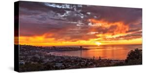 USA, California, La Jolla. Panoramic View of Sunset over La Jolla Shores and Village by Ann Collins
