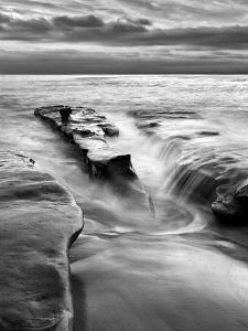 USA, California, La Jolla, Rising Tide and Waves at Coast Blvd at Dusk by Ann Collins
