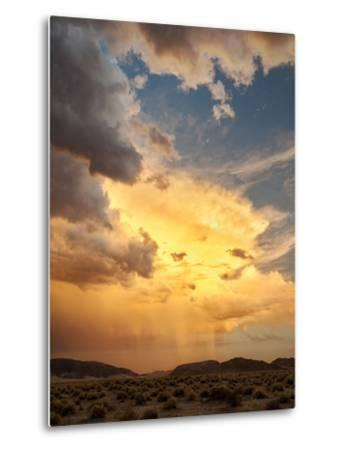 USA, California, Mojave National Preserve, Desert Rain Squall at Sunset