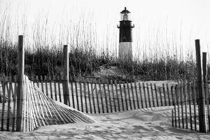 USA, Georgia, Tybee Island, Fences and Lighthouse by Ann Collins