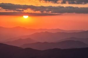 USA, North Carolina, Great Smoky Mountains National Park. Autumn sunset from Clingmans Dome by Ann Collins