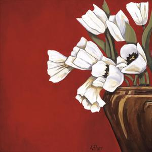 Tulips on Red by Ann Parr