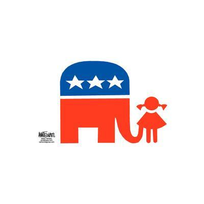 A Republican elephant has its trunk up a young girl's dress.