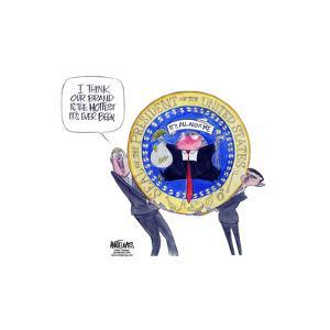 Our brand, the hottest it's ever been. Presidential Seal of the United States. It's all about me. by Ann Telnaes