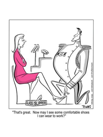 """""""That's great. Now may I see some comfortable shoes I can wear to work?"""" by Ann Telnaes"""