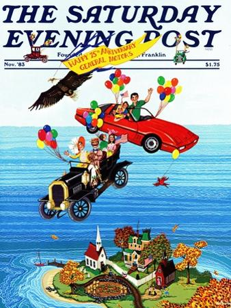 """Flying Cars,"" Saturday Evening Post Cover, November 1, 1983"