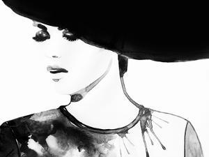 Beautiful Face. Woman Portrait with Hat. Abstract Watercolor .Fashion Background by Anna Ismagilova