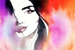 Beautiful Woman Face. Abstract Fashion Watercolor Illustration by Anna Ismagilova