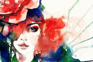 Beautiful Woman Face. Watercolor Illustration by Anna Ismagilova