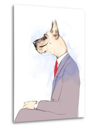 Business Dog . Fashion Animal Watercolor Illustration