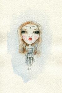 Cartoon Cute Child Girl . Watercolor Illustration by Anna Ismagilova