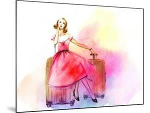 Hand Drawn Traveling Woman with Luggage by Anna Ismagilova