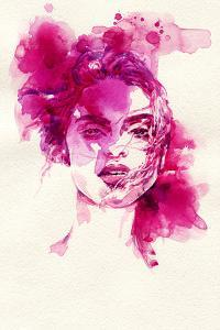 Woman Face. Hand Painted Fashion Illustration by Anna Ismagilova