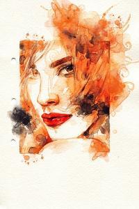 Woman Face. Hand Painted Fashion Illustration by Anna Ismagilova