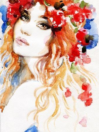 Woman. Hand Painted Fashion Illustration