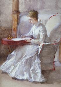 A Woman in White Writing at a Desk, C1864-1930 by Anna Lea Merritt