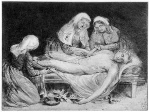 Three Nurses Tending a Wounded Soldier, 1915 by Anna Lea Merritt